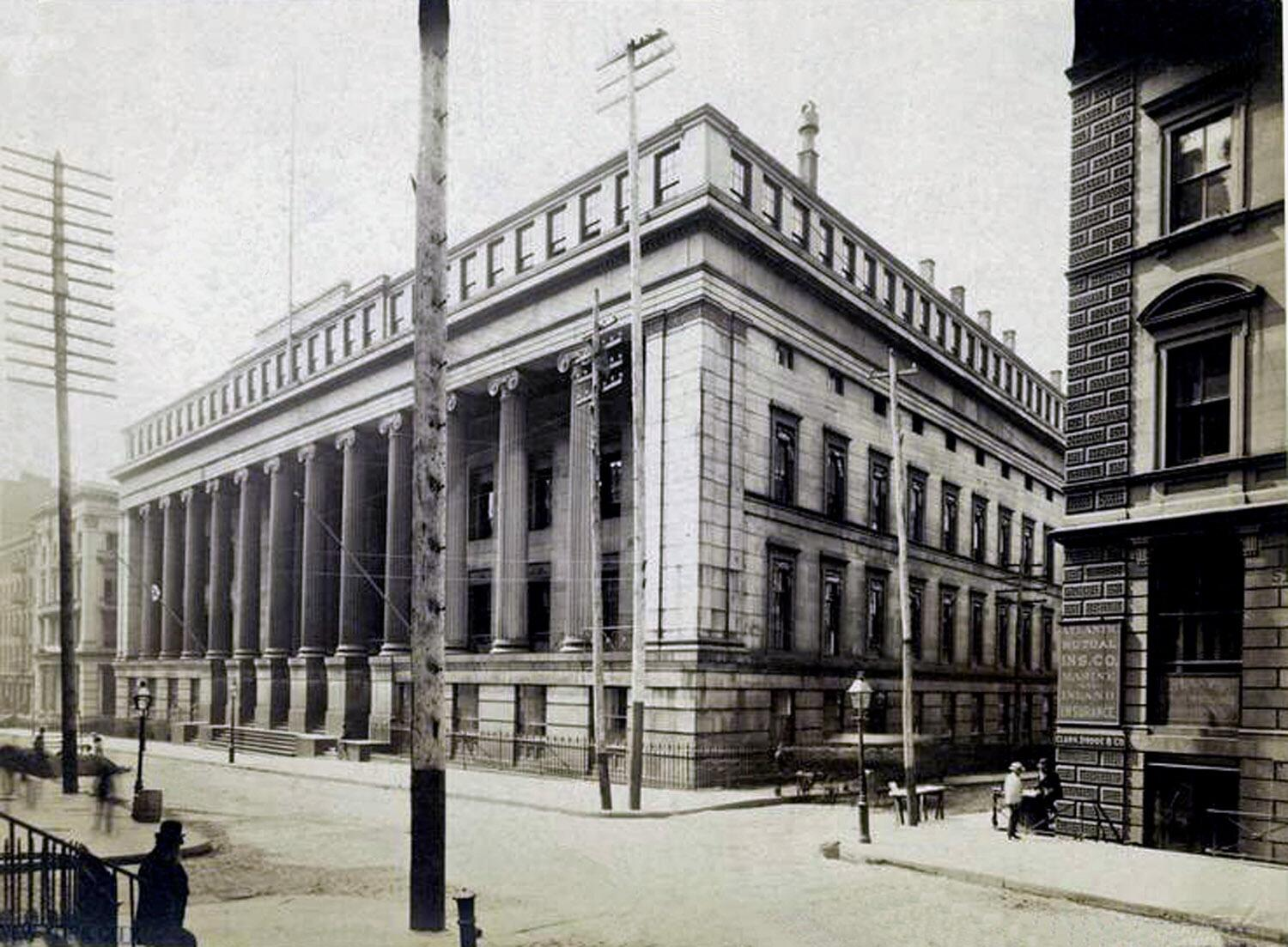 "New York Custom House at 55 Wall Street.The offices of the collectors of customs were located in this building during the period Herman Melville worked as a customs inspector. Melville spent his working days as an inspector on the ""outside"" on various of the wharves that lined the North River (now the Hudson River). He and his partner(s) were responsible for renting their own ""office"" space to accommodate themselves and their equipment. When asked how he had managed to retain his job through many changes of administration, Melvill replied that he seldom made an appearance at the Wall Street customhouse -- in other words, the politicians forgot about the quiet, withdrawn older man toiling dutifully under adverse conditions that eventually broke his health and mental stability."