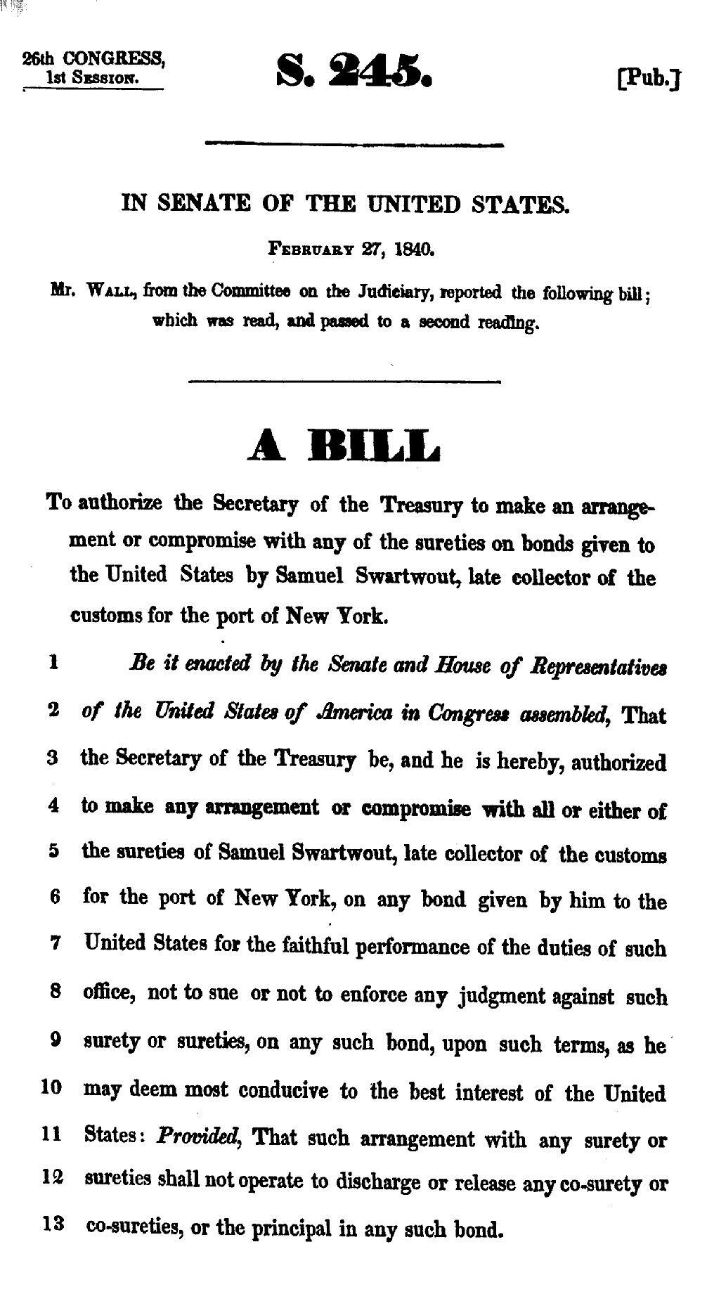 Bill to Resolve Accounts