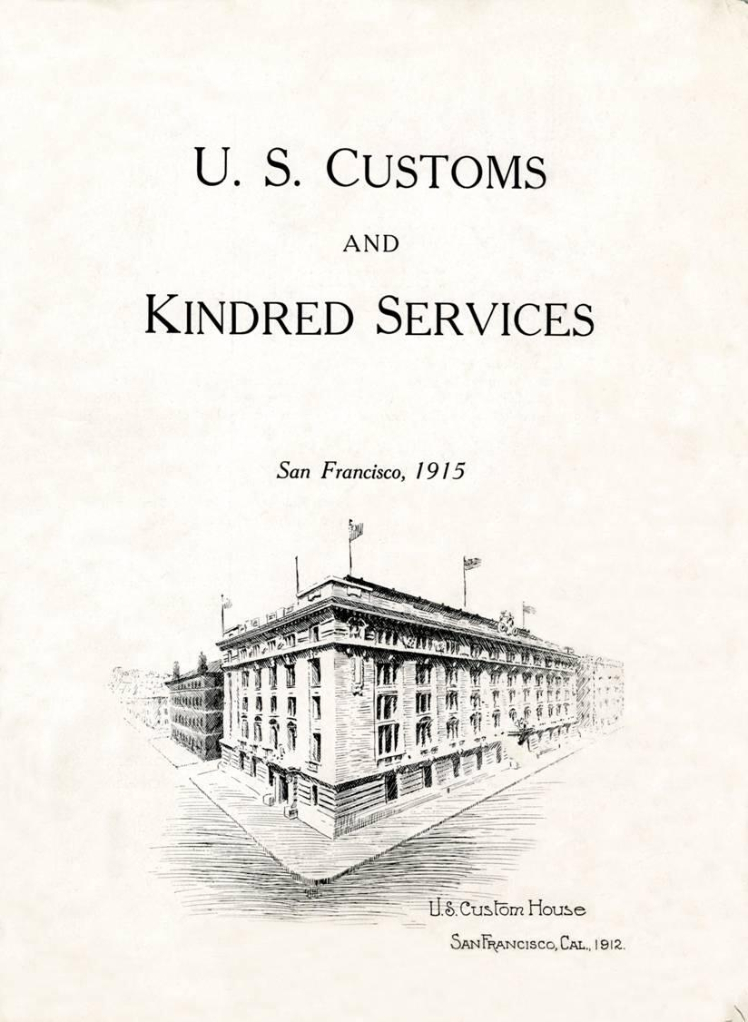 The frontispiece of the book. Depicting the then four-year-old custom house in San Francisco.