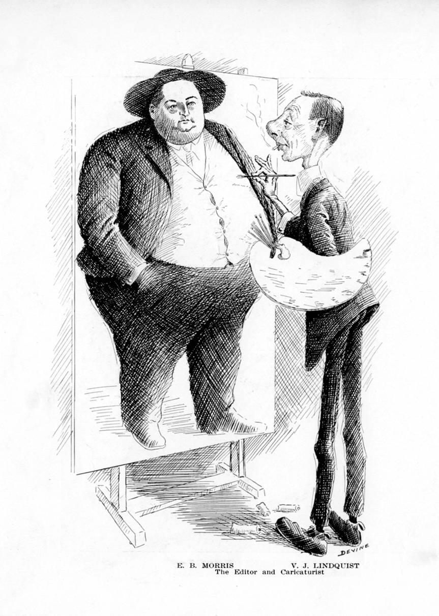 Caricaturist & Customs Examiner Patrick Devine draws caricaturist & Boarding Officer Victor Lindquist working on a caricature of editor & Customs Examiner Earl Morris.