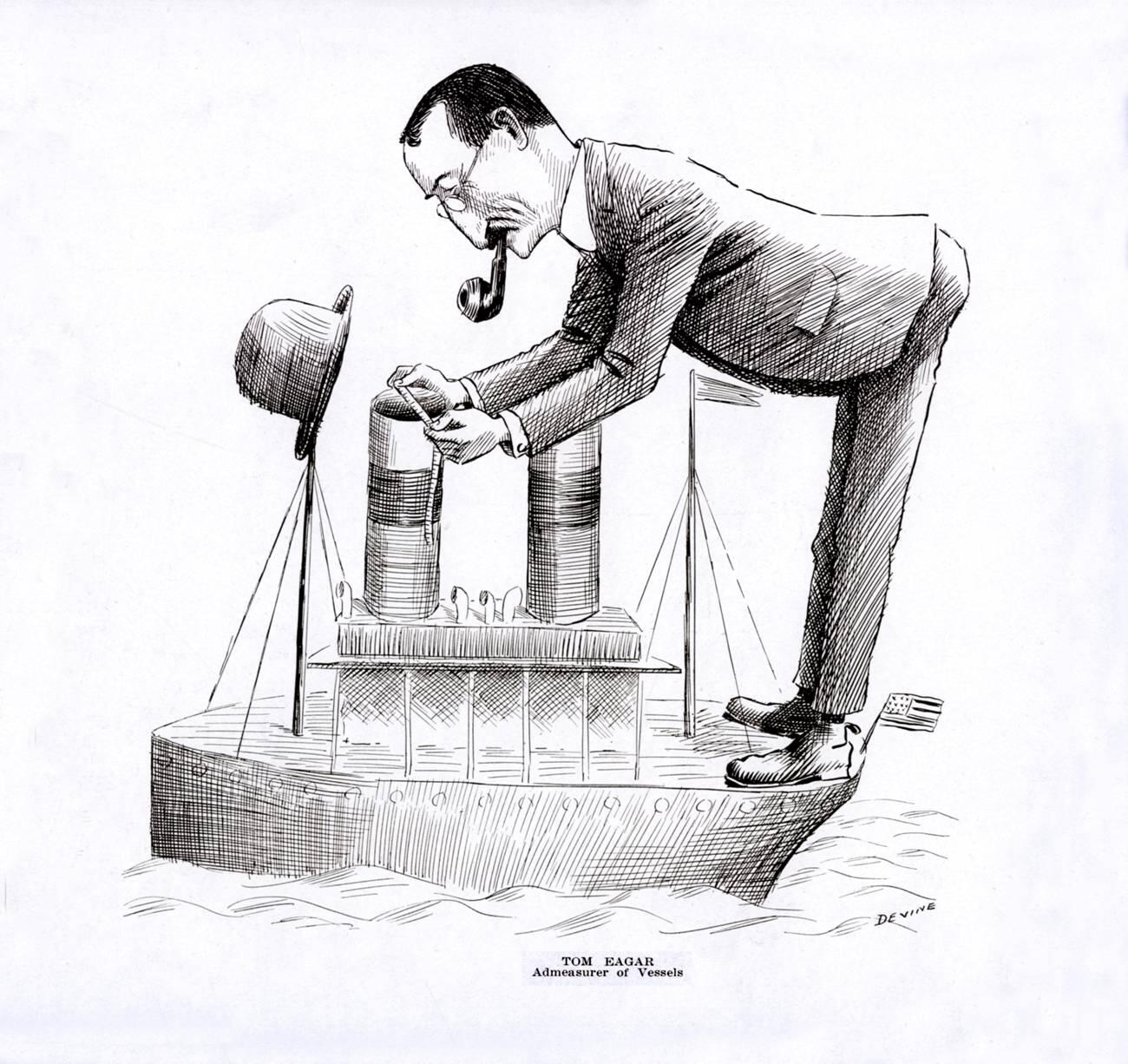 Thomas C. Eagar, Admeasurer of ships by caricaturist and Customs Examiner Patrick B. Devine.