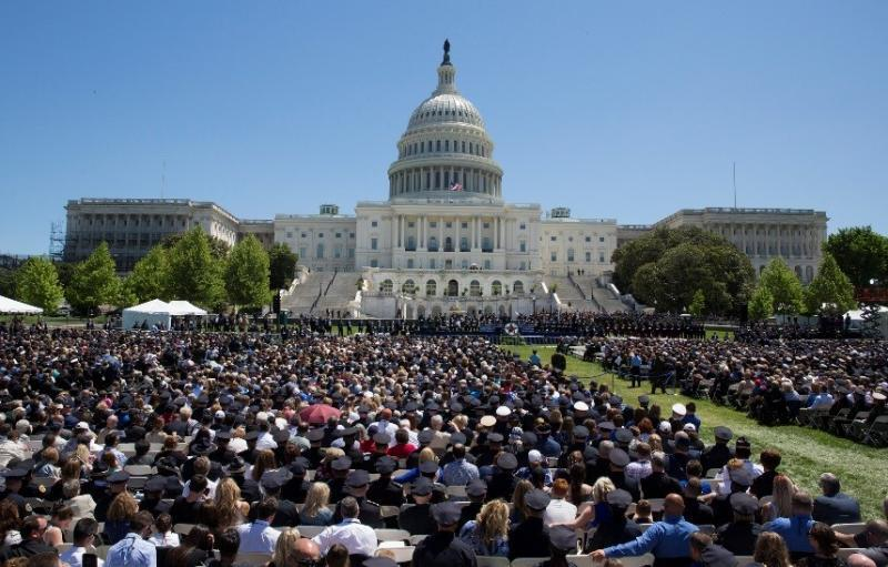Police Week's National Peace Officers' Memorial Service drew thousands.