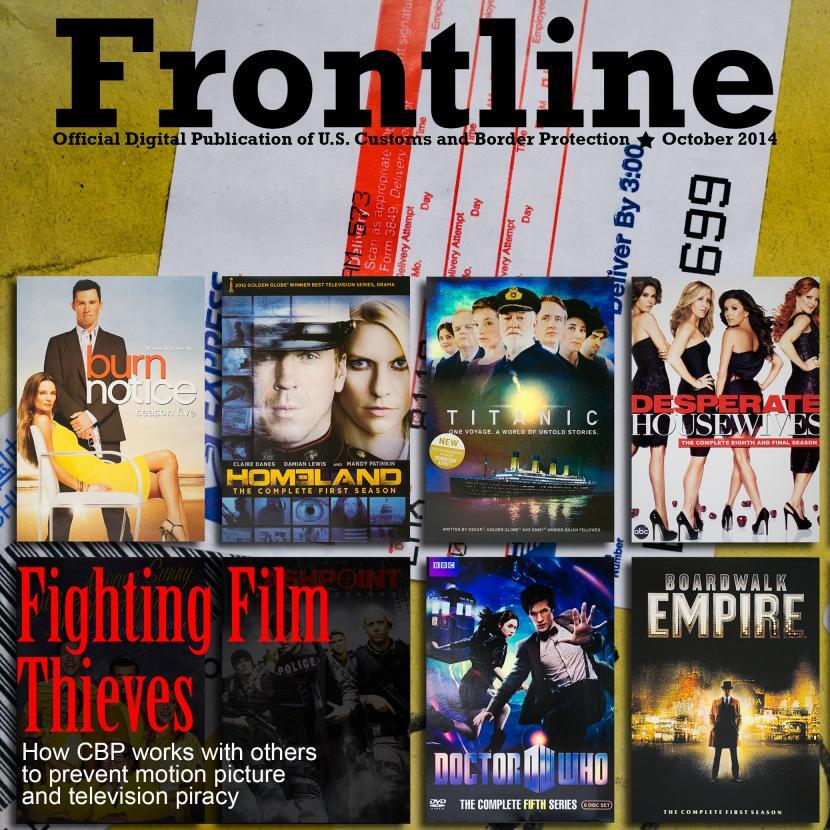 Photo illustration depicting counterfeit DVDs