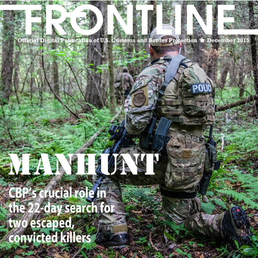 December Frontline cover showing BORTAC agent in New York woods