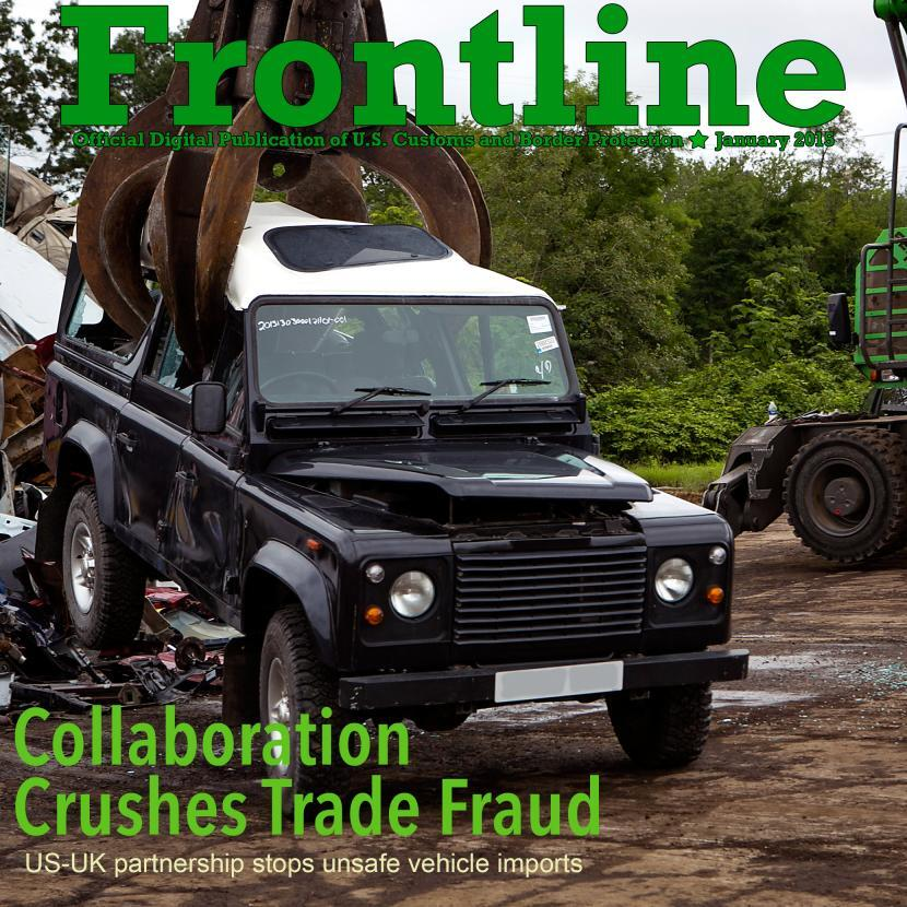 Magazine cover photo of Land Rover being crushed
