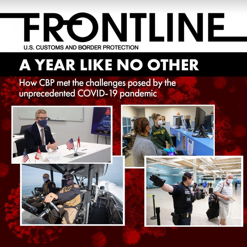 Frontline cover photo of CBP employees during COVID-19