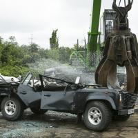 Photo of a fraudulent Land Rover Defender being destroyed in August 2013.