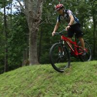 Photo of CBP mountain biker in competition.
