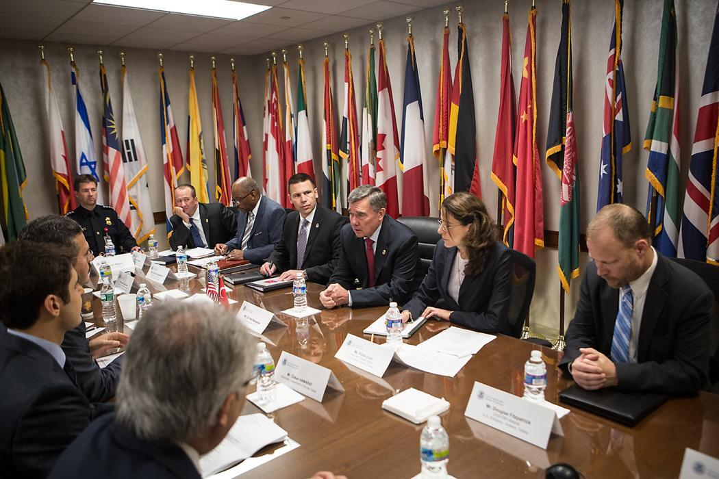 Photo of Commissioner Kerlikowske meeting with a delegation from the Turkish National Police at CBP headquarters on June 9.