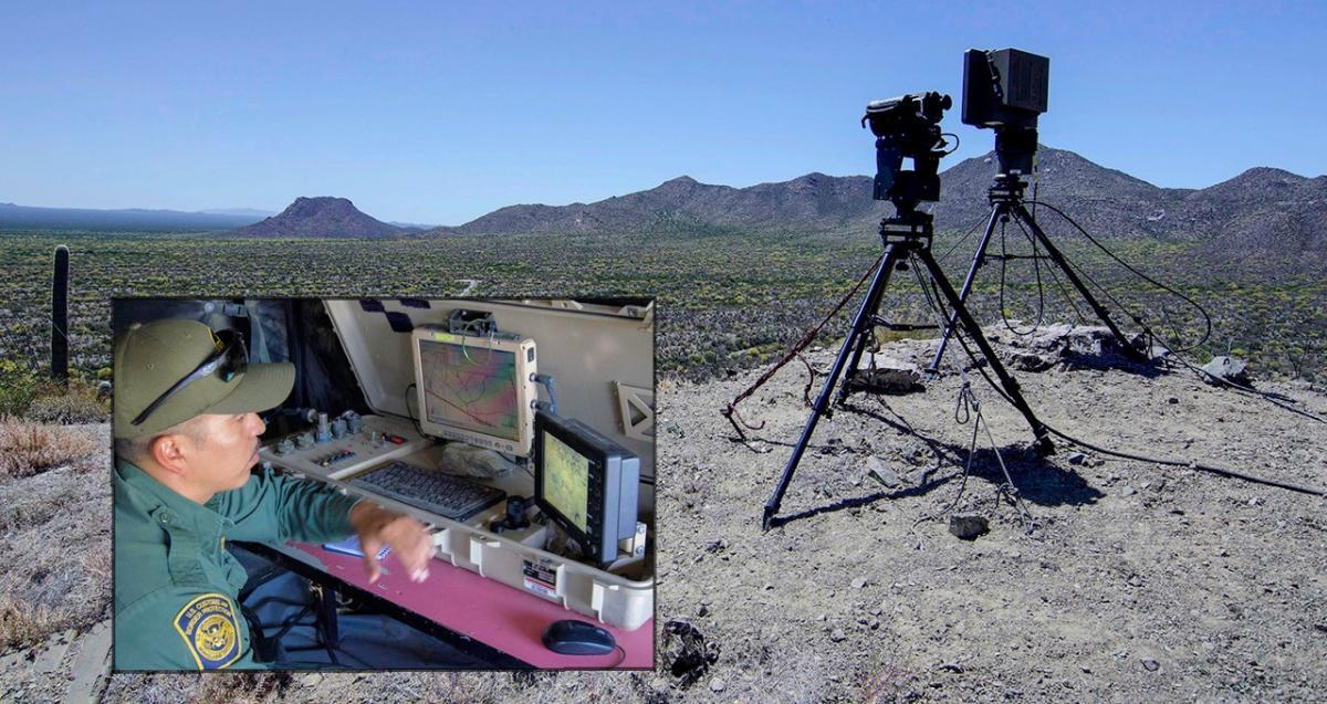 Photo of a Border Patrol agent operating a portable radar-camera unit.