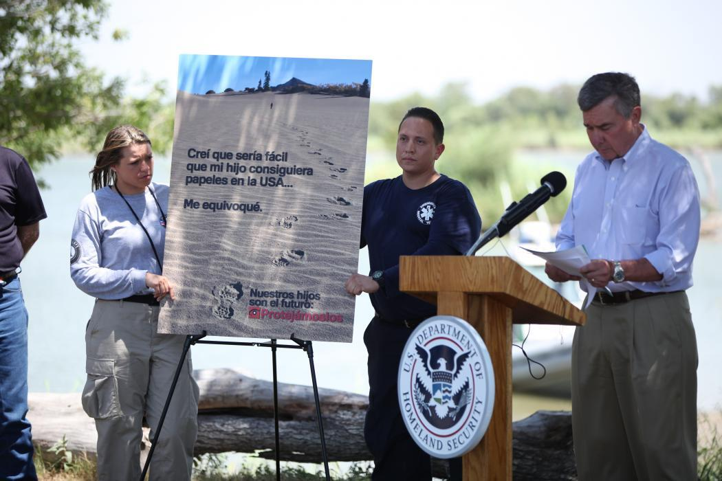 Photo of Commissioner Kerlikowske at a news conference in Mission, Texas in July, 2014
