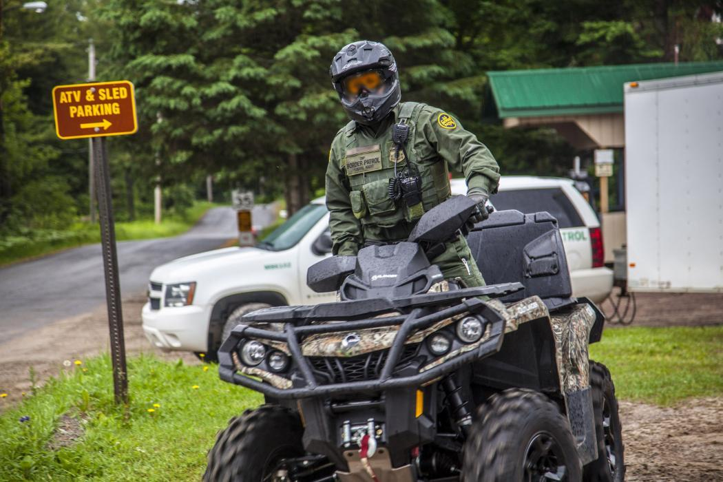 Photo of a Border Patrol agent of an ATV