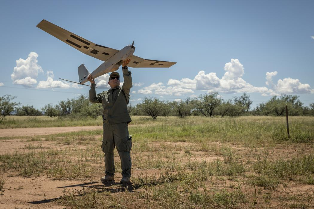 Border Patrol agent launches fixed-wing drone