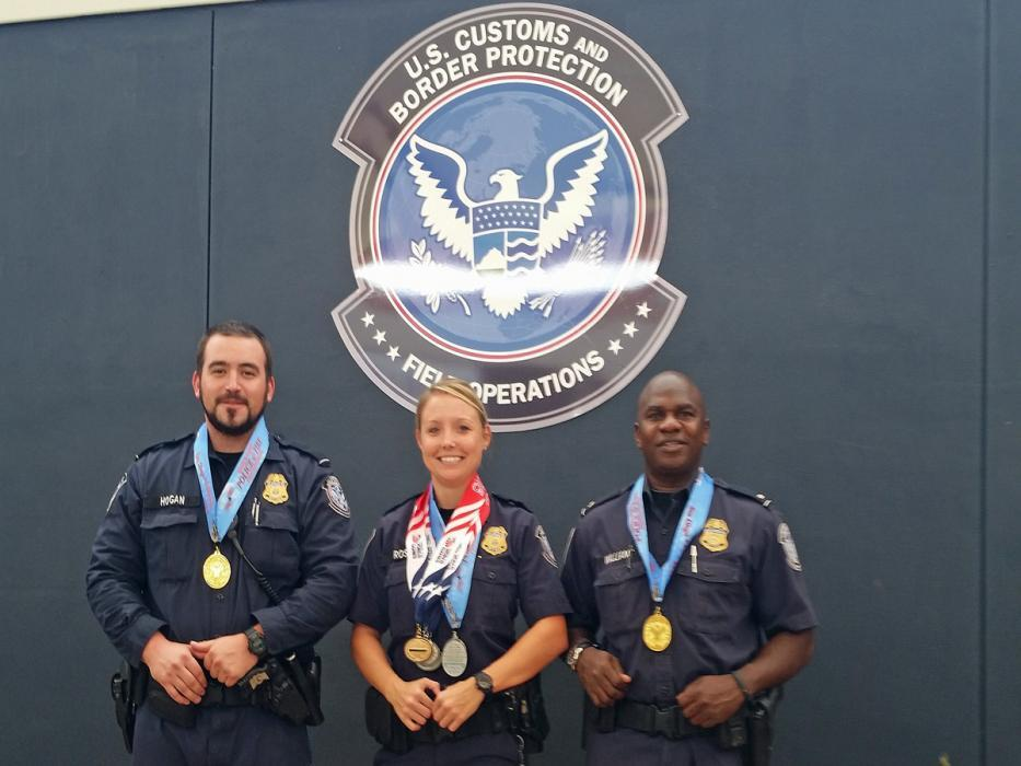 Photo of three medalists from the Port of Lukeville, Arizona