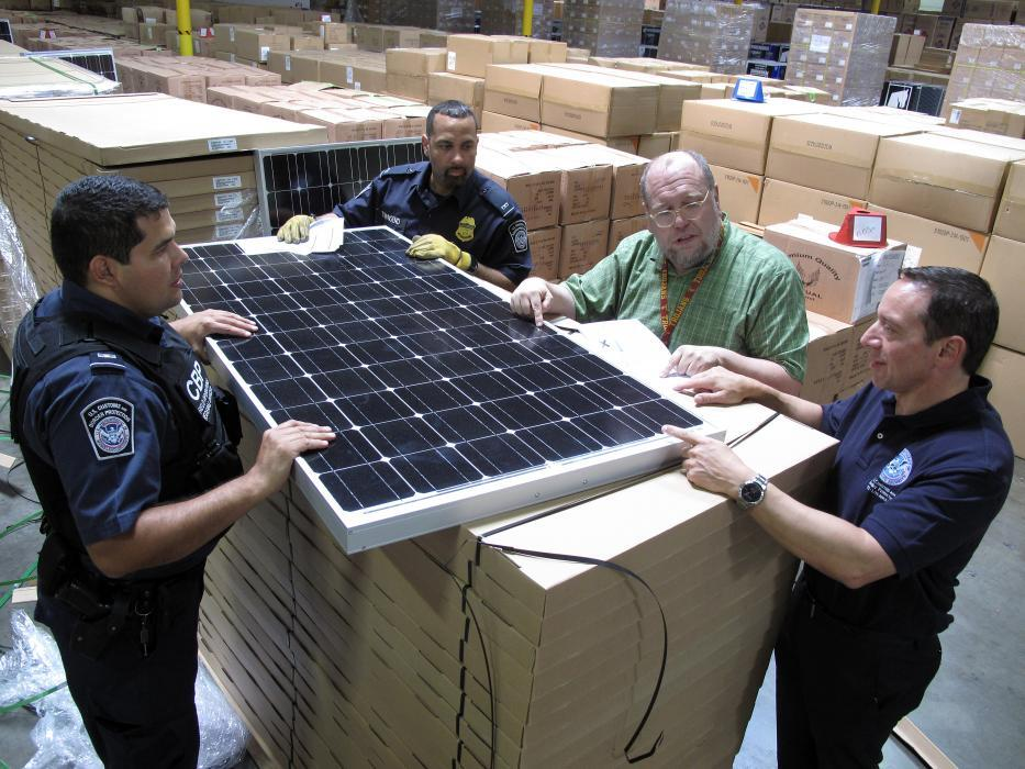 Photo of CBP discussing best practices for solar panel examinations