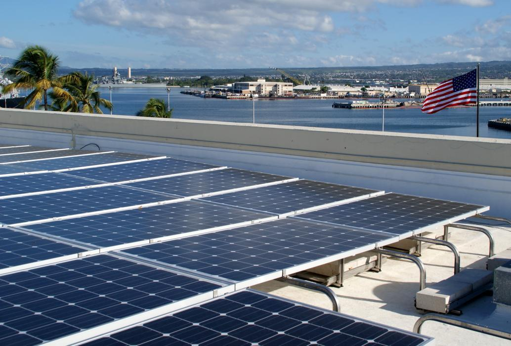 Photo of one of five solar rooftop installations at Pearl Harbor-Hickam military base in Hawaii.
