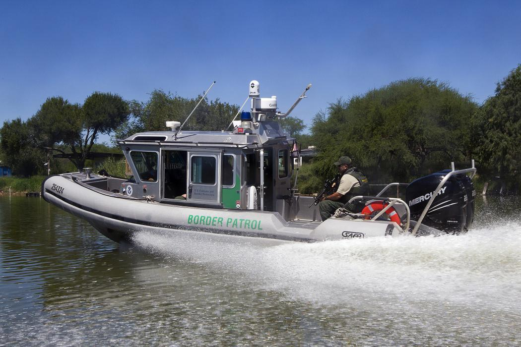 Photo of a Safe Boat patrols the river