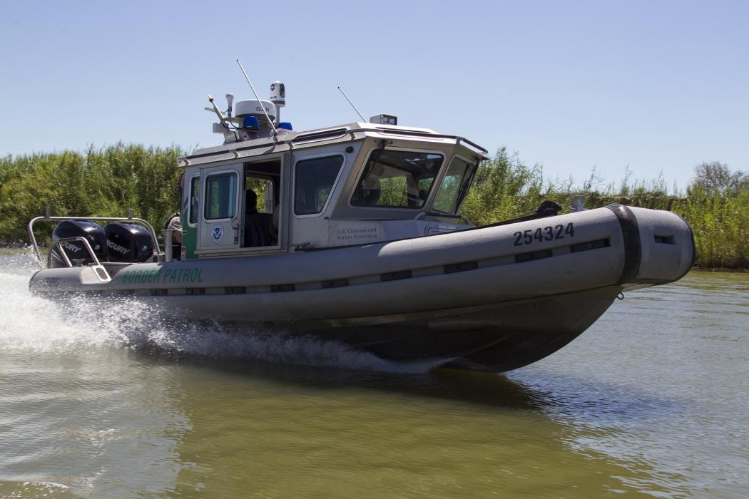 Photo of a Border Patrol boat on patrol on the Rio Grande River