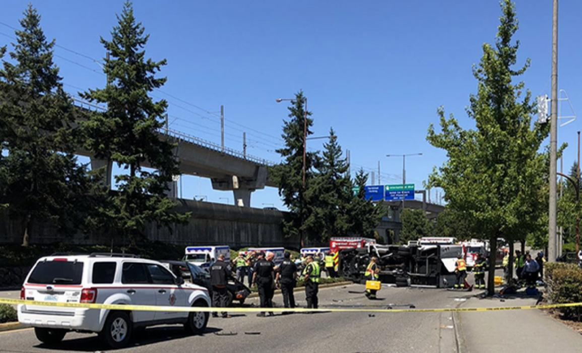 The scene of fatal crash near Seattle-Tacoma International Airport where CBP was the first to respond