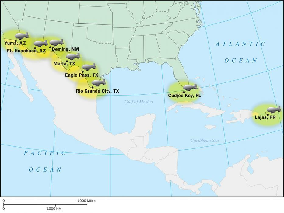 Illustration Of TARS on the Southwest border to overlap coverage and detect illegal activity
