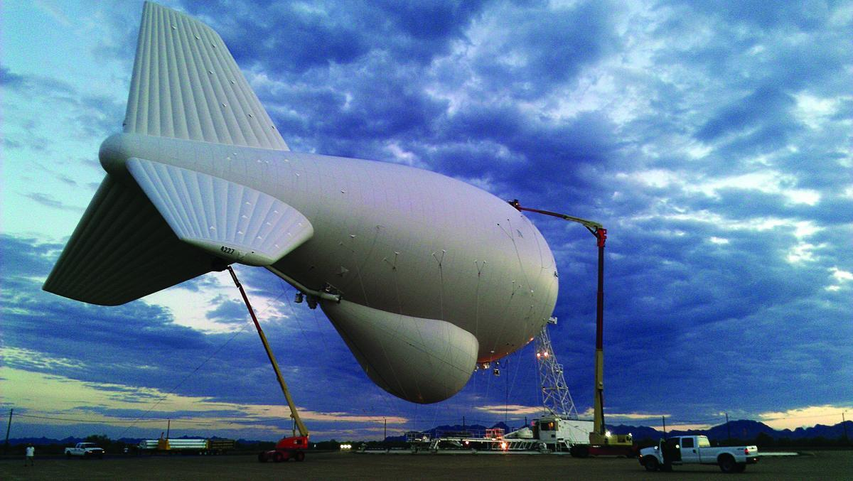 Photo of an aerostat tethered to the ground