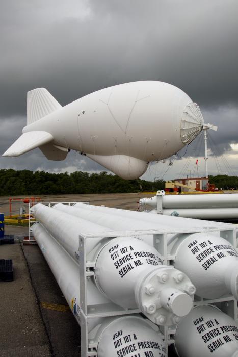 Photo of an aerostat preparing for a helium recharge at Cudjoe Key, Florida