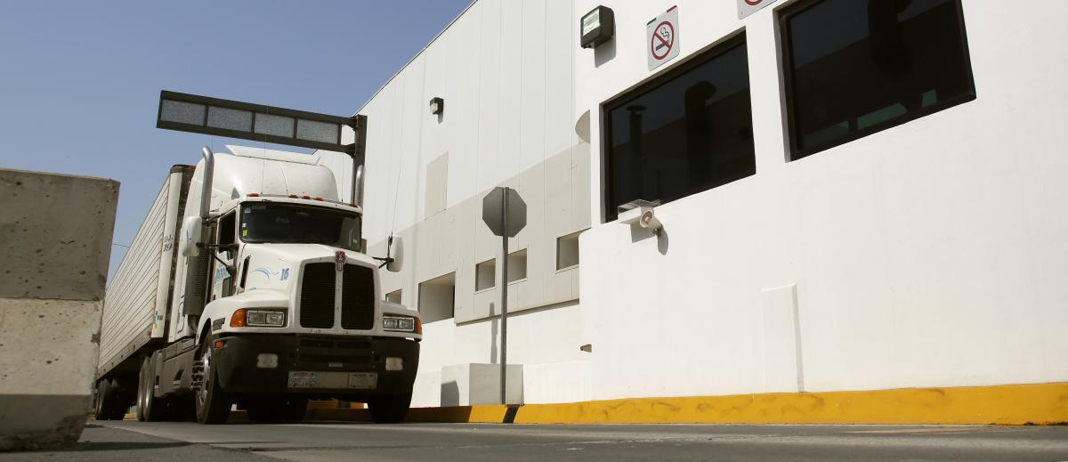 A shipment approaches CBP's Mesa de Otay cargo pre-inspection station