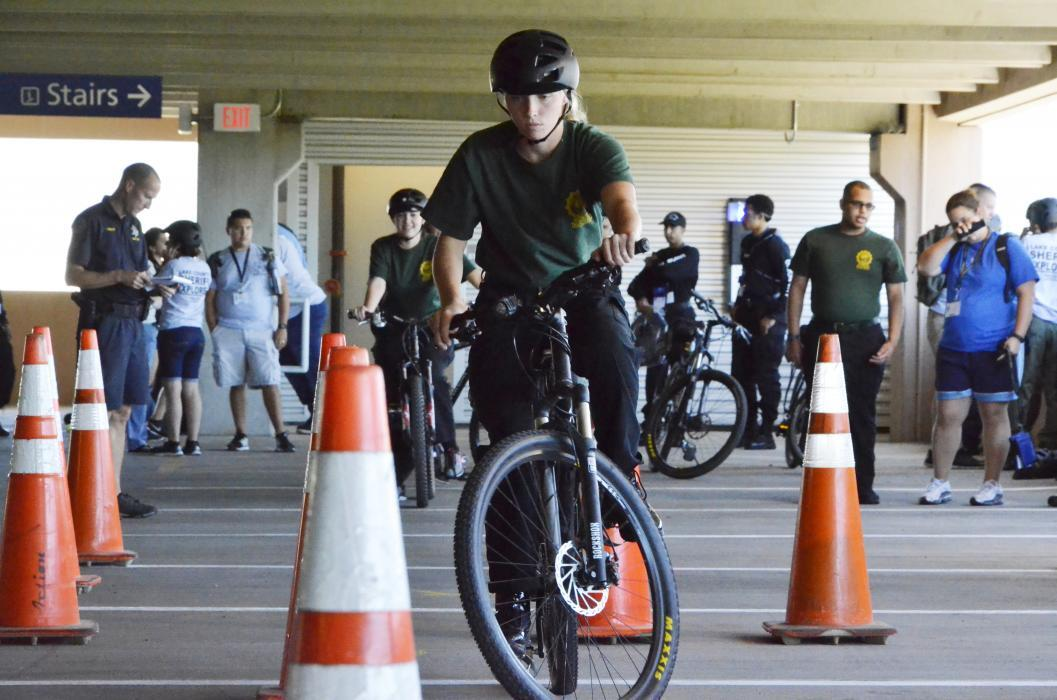 Police biking required agility and coordination