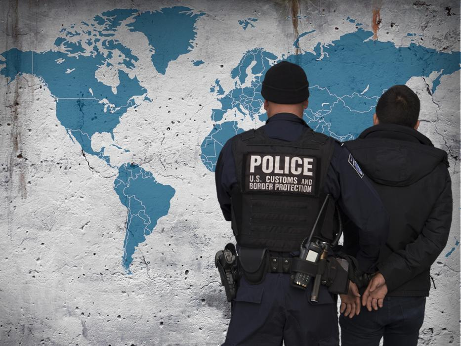 World map background with law enforcement arresting an individual