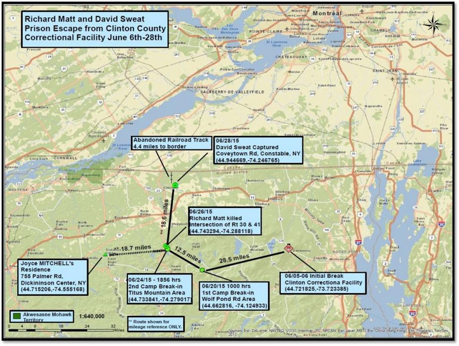 A map showing important locations in the manhunt