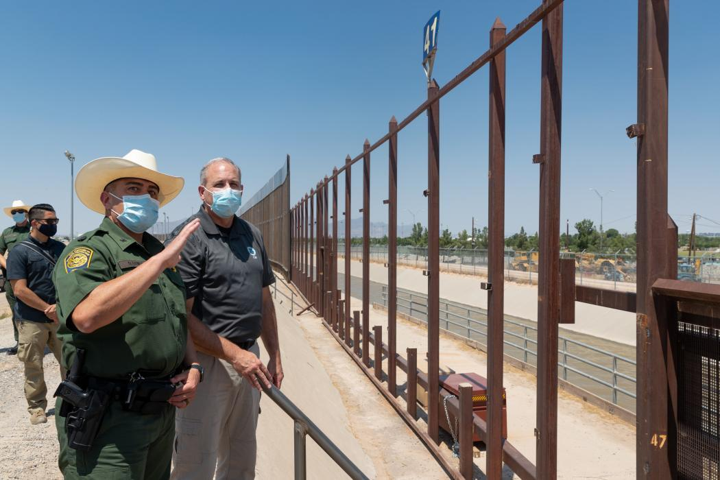 Photo of Acting Commissioner Morgan touring U.S.-Mexico border