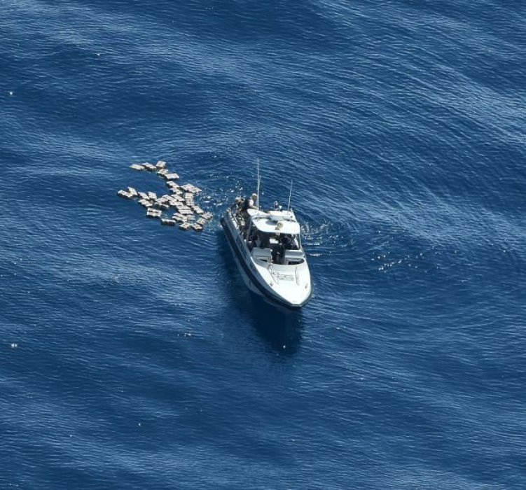 Boat with drugs in water