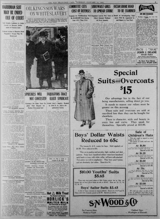 Photo of the San Francisco Call newspaper detailing Rockefeller's work with the grand jury investigating white slavery.