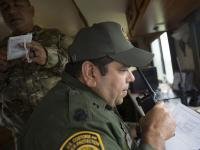 U.S Border Patrol agents man a mobile command post in Rockport, Texas