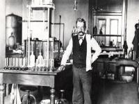Chief Chemist Walter L. Howell stands in the laboratory in the U.S. Custom House in New Orleans, Louisiana