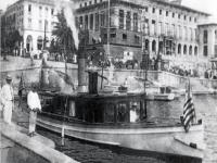 Customs cutter leaves the dock at the U.S. Custom House in San Juan, Puerto Rico