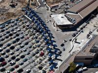 Cars line up at the CBP inspection station at San Ysidro, Calif.