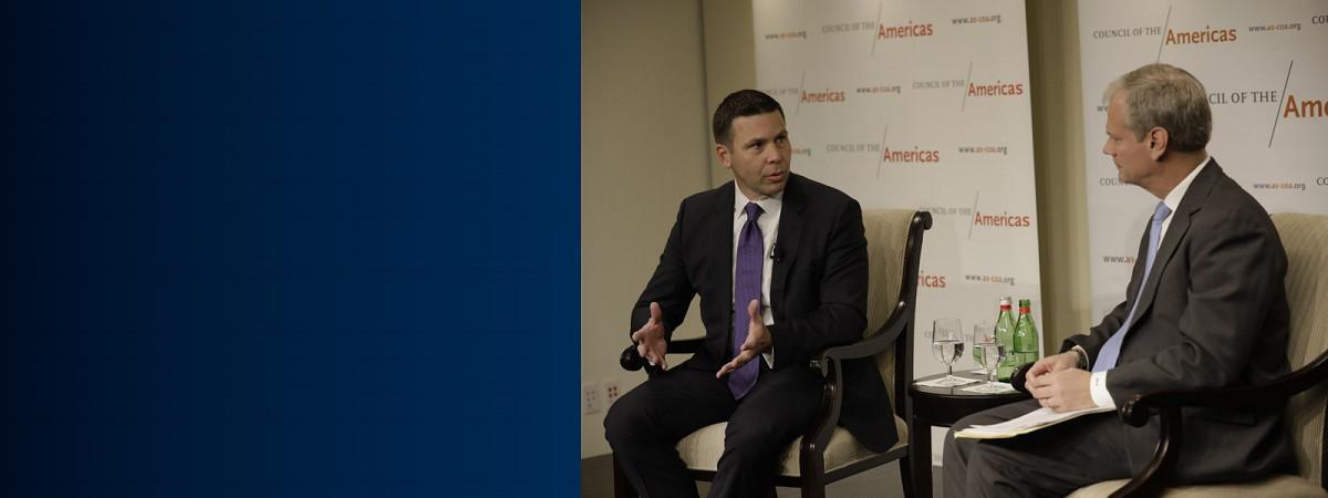 Commissioner McAleenan answers questions from vice president of America's society during forum