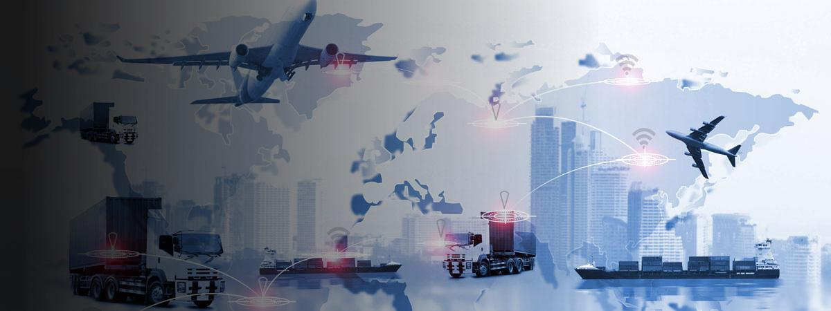 Different forms of transportation on top of a world map (plane, truck, ship, etc)