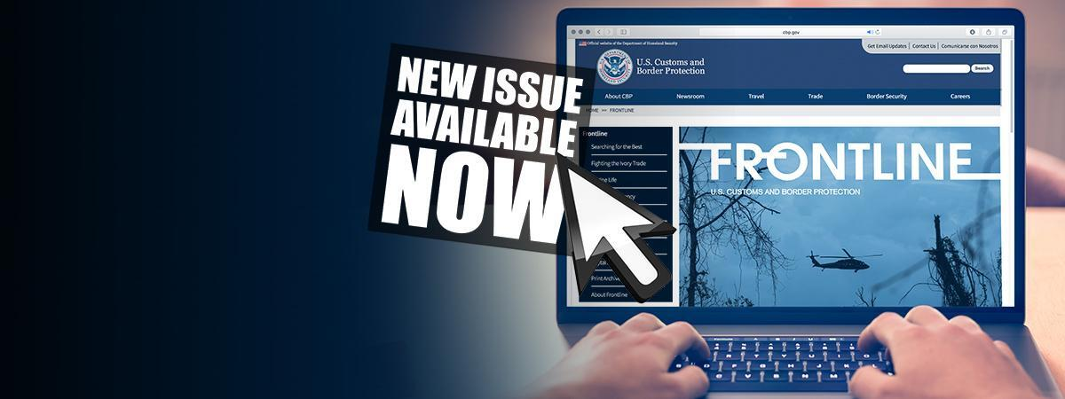 Computer screen displaying newest issue of Frontline, Arrow above computer screen pointing to text reads New Issue Available Now