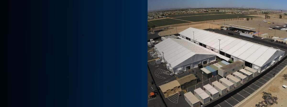 Photograph of a new temporary structure in Yuma