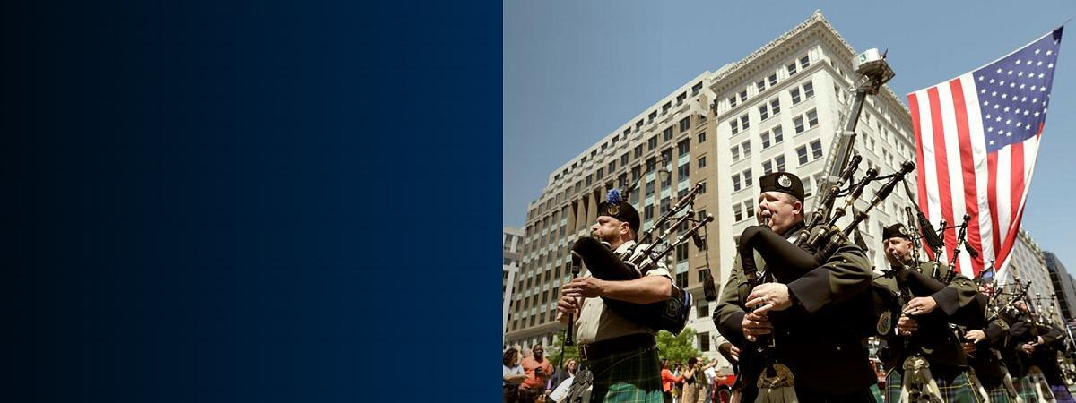Members of the CBP Honor Guard play bagpipes at 25th Annual Blue Mass