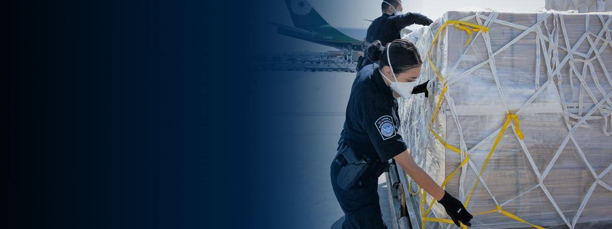 Photo of an officer inspecting cargo