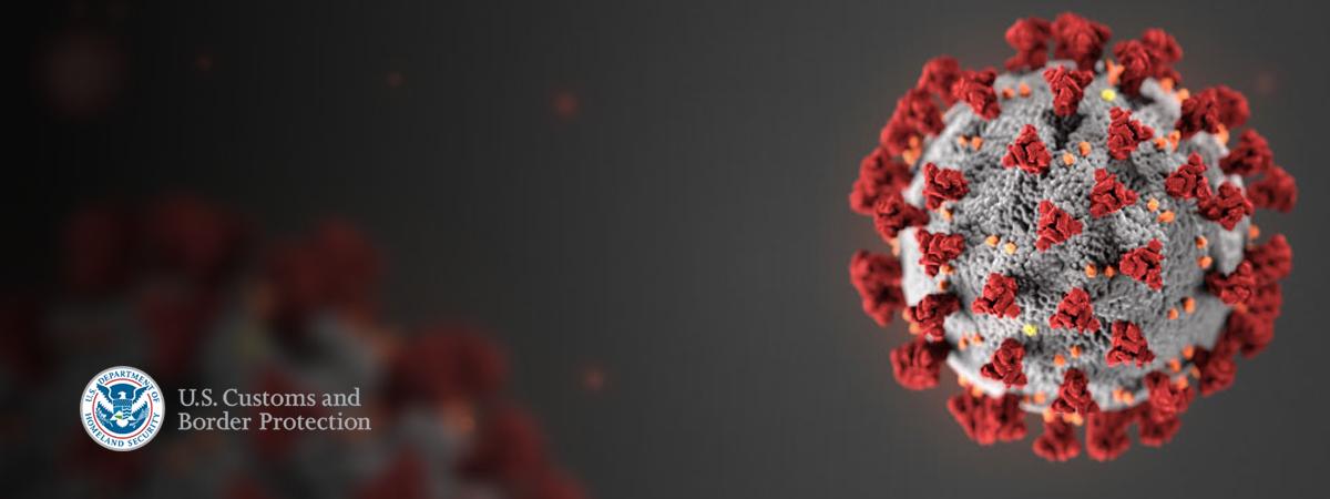 image of coronavirus molecule and CBP seal and signature