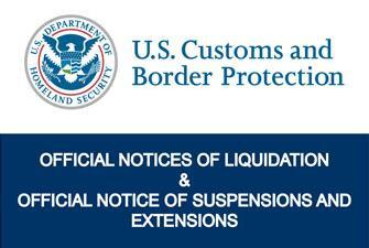 Official Notices of Liquidation & Official Notices of Suspensions & Extensions