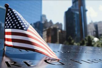 Photograph of the American flag at the 9/11 memorial in New York City