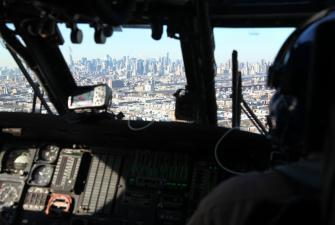 CBP helicopter crew provides security prior to this year's Super Bowl.