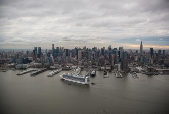 Cruise boat arriving in New York City.
