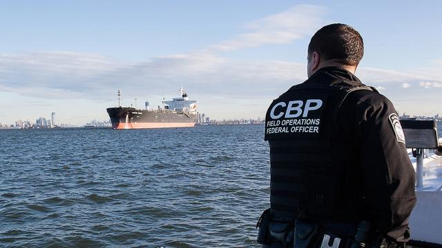 CBP officer views incoming tanker.