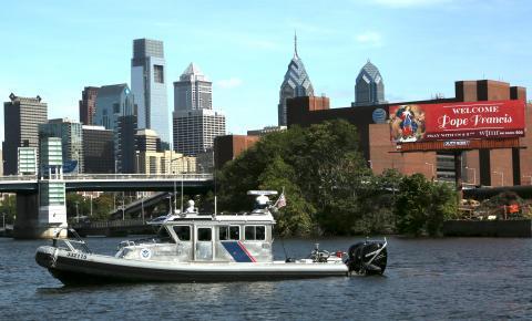 Marine Interdiction Agents patrol the Schuykill River in Philadelphia, PA
